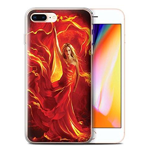 Officiel Elena Dudina Coque / Etui Gel TPU pour Apple iPhone 8 Plus / Cameleon Design / Dragon Reptile Collection Robe Feu