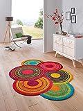 Bavaria-Home-Style-Collection Teppich Läufer wash + Dry Cosmic modern Rund Kreise bunt oder braun waschbar (Bunt)