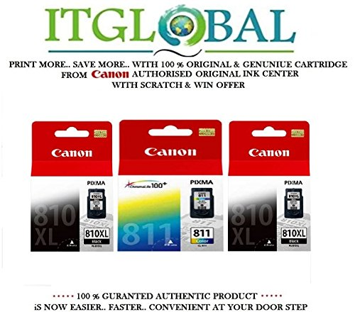 Canon Combo Ink Cartridge Black & Color ( PG 810 XL Twin & CL 811 ) [Set of 3 Cartridge] -Special ITGLOBAL Combo With Scratch & Win Offer 810xl 811  available at amazon for Rs.5504