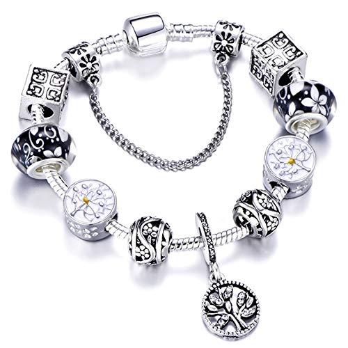 Mädchen Armband, Kristall Armband, Armband Gewebt,Square Fitting Silver Charm Armband Kette Für Frauen Mädchen Baum Des Lebens Anhänger Armband Armreif Schmuck, Geben Sie Dem Mädchen Das Beste Ge