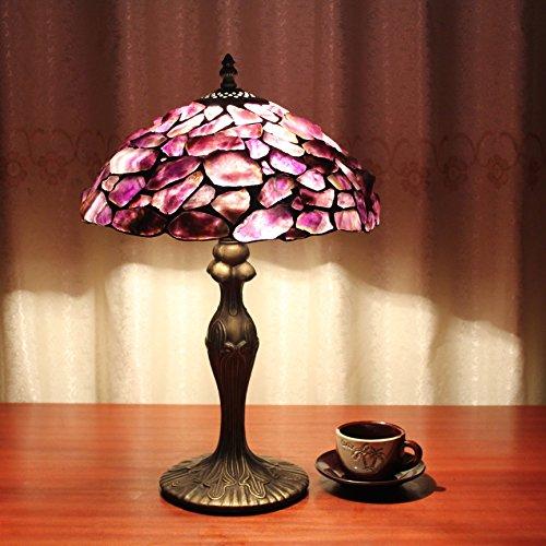 Gweat 12-Zoll Vintage pastoralen lila Traum Glasmalerei Tischlampe Schlafzimmer Lampe Nachttischlampe - Lila Glasmalerei