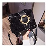 XUZISHAN Sac Femme Sac À Main Carré Fourrure Couleur Soft Cuir Messenger Bag Fashion Simple Metal Flip Bandoulière Sac À Bandoulière Unique,D