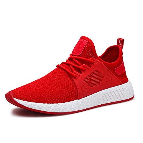MUOU Schuhe Herren Sommer Sneaker Atmungsaktive Freizeitschuhe Mode Bequeme Lace-up Männer Turnschuhe Mesh Laufschuhe (40, Rot) (Sneaker-speicher-fall)