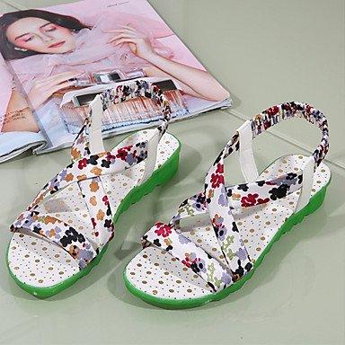 Sandálias Casualmente Lvyuan office teal plano Heel Vestido pu Senhoras Verde Conforto wIPgw