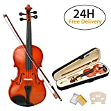 Popamazing New 4/4 Antique Wood Violin Full Size Natural Acoustic Violin Bow Rosin +Carry Case