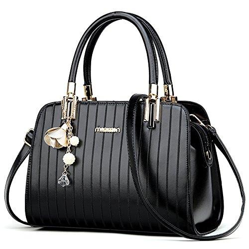 LiZhen Ms. pacchetti per autunno e inverno dalla nuova borsa elegante ragazza selvaggia ha una spalla minimalista un cross-pui confezione di marea, elegante nera Elegante nera