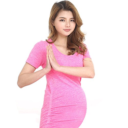 LWJ 1982 Maternity Nursing Kurzarm Tops Schwangerschaft Sporthose T-Shirts Vest Flared Scoop Neck Ruched (Medium, Rosa) (Shirt Scoop Neck Mutterschaft)