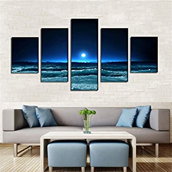 LA VIE 5 Teilig Wandbild Gemälde Universum-Planeten Hochwertiger ...