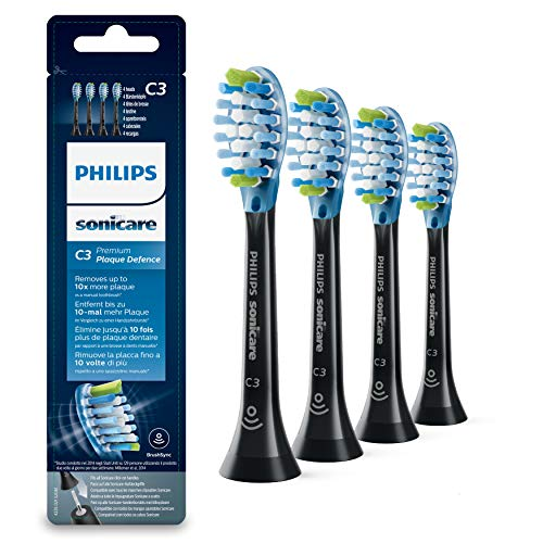 Philips Sonicare Original Aufsteckbürste Premium Plaque Defence HX9044/33, 10x mehr Plaqueentfernung, RFID-Chip, 4er Pack, Standard, Schwarz (Bürstenkopf Philips Sonicare)