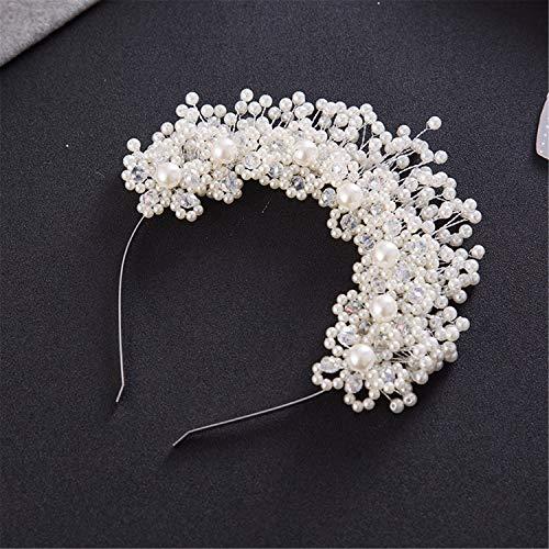 Handgemachte Perlen-Blumen-Brautstirnband, Mode-Hochzeits-Kopfbedeckung, Schmuck-Kostüm-Zusätze für Frauen White (Damen Hausgemachte Kostüm)