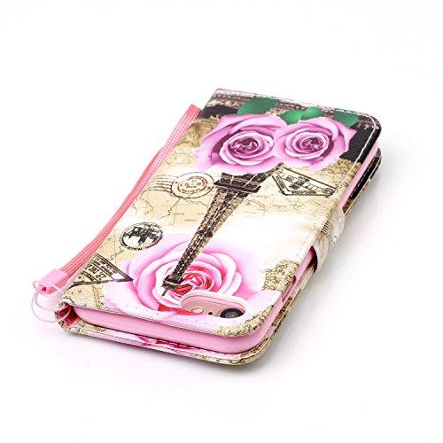"""Für iPhone 7 4.7"""" Gurt Strap Magnetverschluß Ledertasche Hülle,Für iPhone 7 4.7"""" Premium Seil Leder Wallet Tasche Brieftasche Schutzhülle,Funyye Stilvoll Jahrgang [Bunt Muster] Schutzhülle Wallet Case Rose Turm"""
