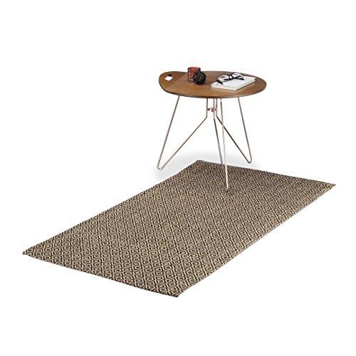 Relaxdays Tapis de couloir tapis en jute tissé motifs tapis de passage cuisine 70 x 140 cm, nature/noir