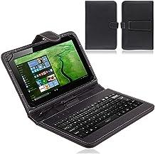 NAUC Funda de teclado para Vodafone Tab Prime 6,QWERTZ, Función Atril, Micro USB