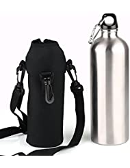 VERY100 1000ml Botella Deportiva de Acero Inoxidable+Funda Impermeable negro para Ciclismo