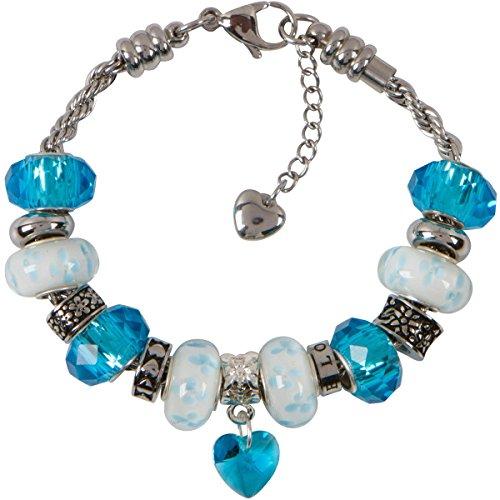Armband mit Geburtsstein-Anhänger, Herz und Perlen an einer Kordelkette aus Edelstahl - für Frauen und Mädchen - Weisheit 10 Inch (25.5 cm) aquamarin - Aquamarin-geburtsstein-set