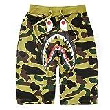 Herren Tarnung Shark Mund gedruckte kurze hose Strand Baumwoll Shorts Grün XL
