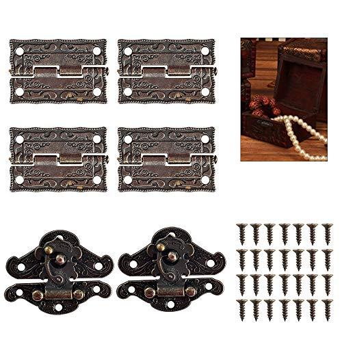 NAHUAA 2 pcs Antike Scharniere Haspe Bronze mit 4 Stücke Scharnier Klein Schrank Retrohinges + 28 pcs Schraube für Lock Möbel Schmuckkästchen Schrank Souvenir Box Holzbox DIY