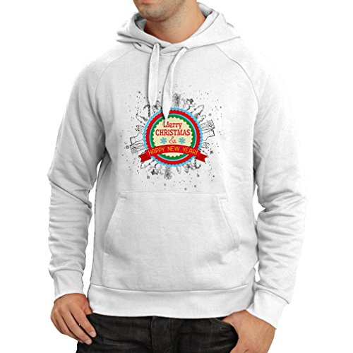 Felpa con cappuccio Merry Christmas and Happy New Year - Holiday Outfits Bianco Multicolore