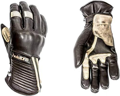 HELSTONS - Guanti da moto a strisce invernali in pelle marrone/beige, T12