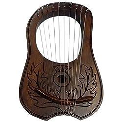 Hw Lyra Harfe Palisander 10Metall-saiten Distel Designlyra Harfegravur Harfe