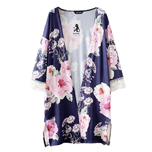 Print-gerippte Strickjacke (QUINTRA Spitzen - Frauen Boho Print Chiffon Locker Schal Kimono Strickjacke Top Vertuschung Bluse)