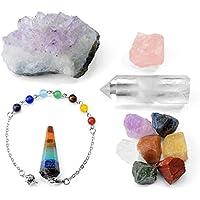 CrystalTears 15pcs Heilung Kristalle Therapie Kit 7 Chakra Edelsteine, Pendel, Selenit Crystal Stick, 5 x grobe... preisvergleich bei billige-tabletten.eu