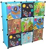 KEKSKRONE - Kinder Kleiderschrank mit Bunten Abenteuer Motiven - Blau 9 Module - DIY Steckregal Inklusive Kleiderstange