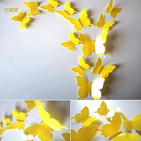 3D stereo simulazione parete Butterfly decorativi adesivi soggiorno camera da letto mobile porta TV in vetro a parete magneti da frigorifero,puro giallo