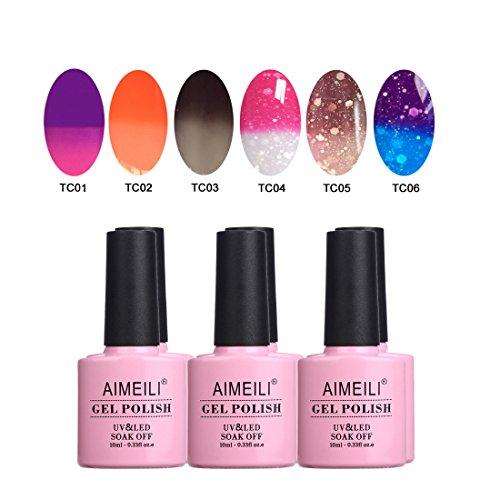 AIMEILI UV LED Thermo Gellack mehrfarbig ablösbarer Temperatur Farbwechsel Nagellack Chameleon Gel Polish Set Kit - 6 x 10ml - Set Nummer 13
