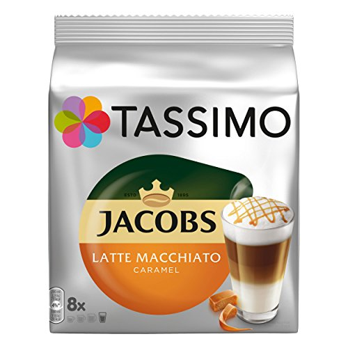Tassimo Jacobs Latte Macchiato Caramel, Kaffee, Karamell, Milchkaffee, Kapsel, 16 T-Discs / 8...