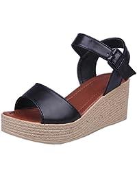 Sandalias Mujer, Culater Plataforma Zapatillas de Polipiel Senderismo (35, Verde)