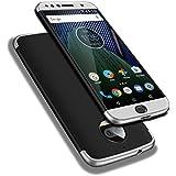 """Moto G5s Plus Funda, WindCase 360 Grados Cuerpo Completo Protección 3 en 1 Duro PC Funda Anti-rasguños Carcasa para Motorola Moto G5s Plus 5.5"""" Negro Rojo + Protector de Pantalla de Vidrio Templado"""