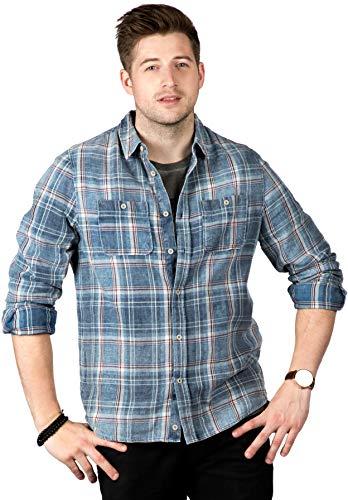 SOIZZI Fashion Herren Baumwoll-Denim-Shirt, klassisches Design, Knopfleiste, langärmelig, kariert, mit 2 Taschen - Blau - Mittel