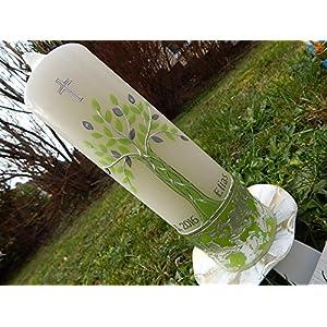 Taufkerze Lebensbaum grün silber Taufkerzen Junge Mädchen 250/70 mm inkl. Beschriftung