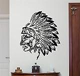 Cchpfcc Wandaufkleber Indianer Wand Vinyl Aufkleber Tribal Indian Chief Aufkleber Kopf Dekor Kunst Zimmer Wandbild Size58 * 72 Cm
