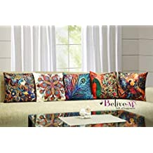 Belive-Me 3D Digital Printed Peacock Multicolour Cotton Jute Cushion Cover - Set Of 5(16X16-Inches)