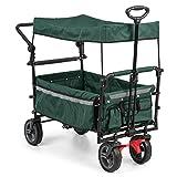 Waldbeck Easy Rider • Bollerwagen mit Dach • Handwagen • bis 70kg belastbar • robuster und pflegeleichter 600D Polyesterbezug • 2 Sicherheitsgurte für Kinder • faltbar • Teleskop- / Schubstange • grün