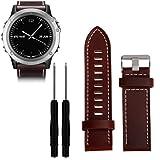 Gosuper Luxury Genuine Leather Smart Watch Band for Garmin Fenix 3/HR