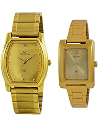 Maxima Square Golden Dial Watch For Couple