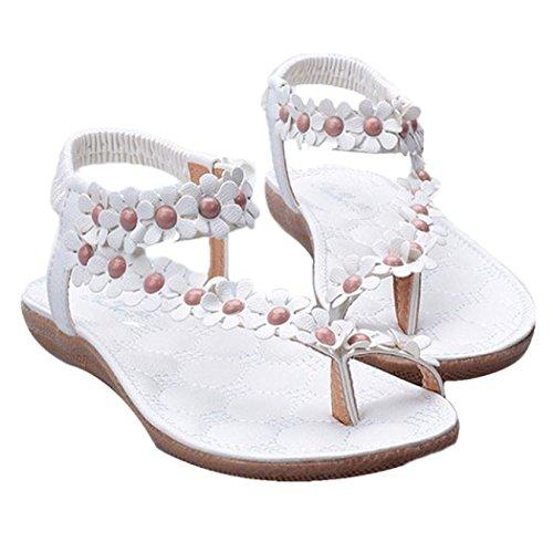 Sandali Donna Estate Bassi Bohemian con Perline - Eleganti Donna Bassi Moda Sandali da Sposa Sandali Bambina Classic Piatti, Infradito Scarpe da Danza da Donna (39 EU, Bianco)