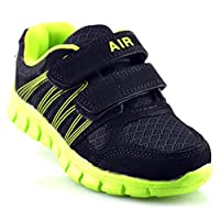 Boys New Superlight Weight Touch Fastening Black Jogger Trainers Shoes Size 10-2