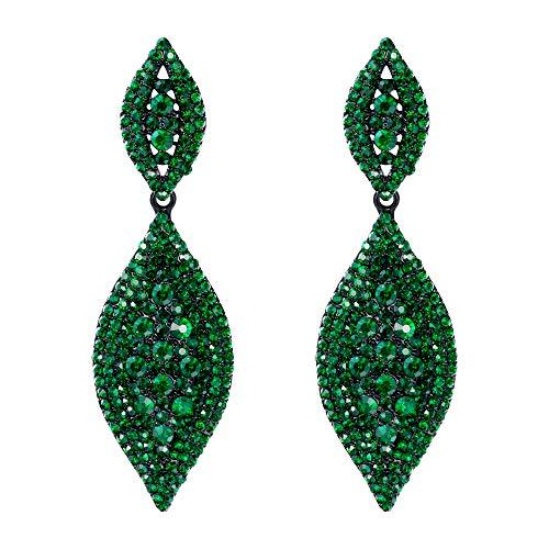 EVER FAITH Damen österreichische kristall hochzeit braut charme 2 blatt tropfen baumeln ohrringe grün schwarz-ton