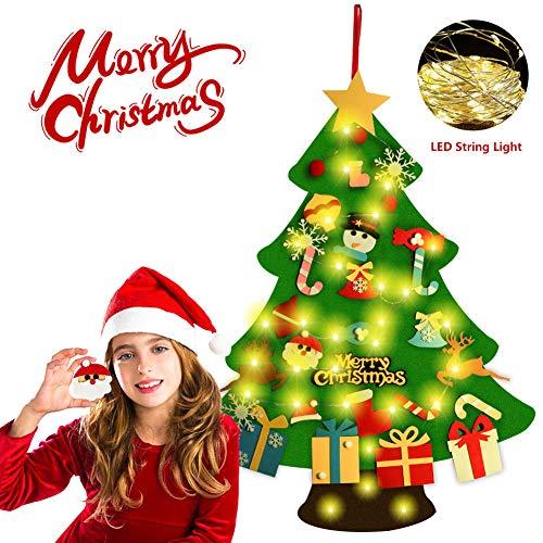 G-TASTE Albero di Natale Fai-da-Te Fatto a Mano Creativo Fatto a Mano con luci a 30 LED 29 Pezzi Ornamenti per Bambini Regali di Natale Decorazione della Parete della Porta di cas