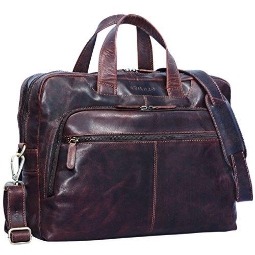 ngetasche Leder Herren Vintage 15,6 Zoll Businesstasche Laptoptasche groß Arbeit Büro Uni Antik Leder, Farbe:Kara - braun ()