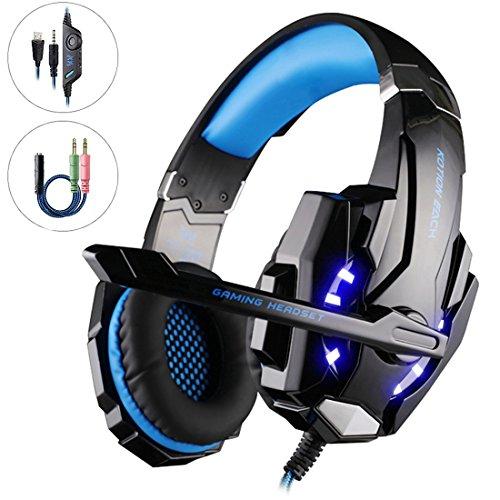 Mbylxk PS4 Gaming Headset Kopfhörer 3,5 mm mit Mikrofon für PS4, Xbox One, PC, teilweise auch Smartphones Schwarz + Blau -