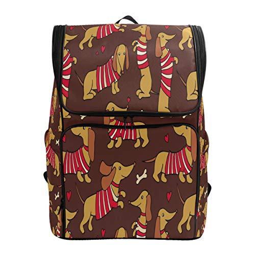 Dackel Rot Herz Schulrucksack Wasserdicht Schultertasche Gym Rucksack Rucksack Gelb Knochen Welpe Tier Laptop Tasche Outdoor Reise Tasche für Damen Herren -
