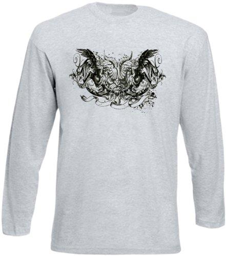 Herren Langarm-Shirt ::: Gryphon Wings ::: für Gothic Fans Grau