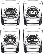 Ek Do Dhai Whisky for All Glass Set, 4-Pieces, 300ml, Black/White (All WSK 4)