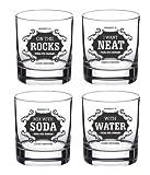 #3: Ek Do Dhai Whisky for All Glass Set, 4-Pieces, 300ml, Black/White (All WSK 4)