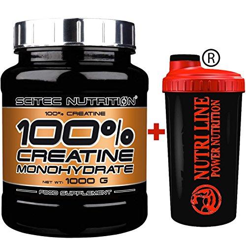 Scitec nutrition creatina monoidrato in polvere 1 kg con shaker nutriline